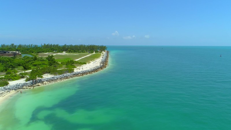 Aerial b roll footage Fort Zachary Taylor Key West Florida 4k 24p