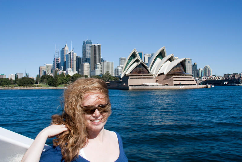 Clodagh unable to control her crazy hair while on the ferry passing by the Sydney Opera House!