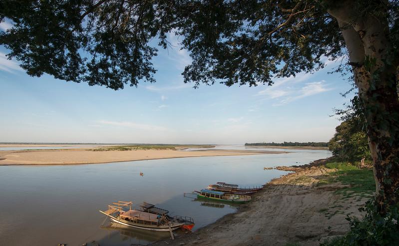 View of the river behind Bagan.  Bagan, Myanmar,2017