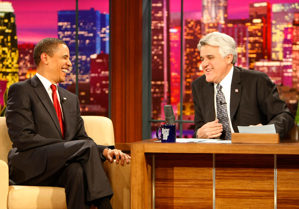 . President Barack Obama, left, appears on The Tonight Show with Jay Leno in Burbank, Calif. Thursday, March 19, 2009. (AP Photo/Gerald Herbert)