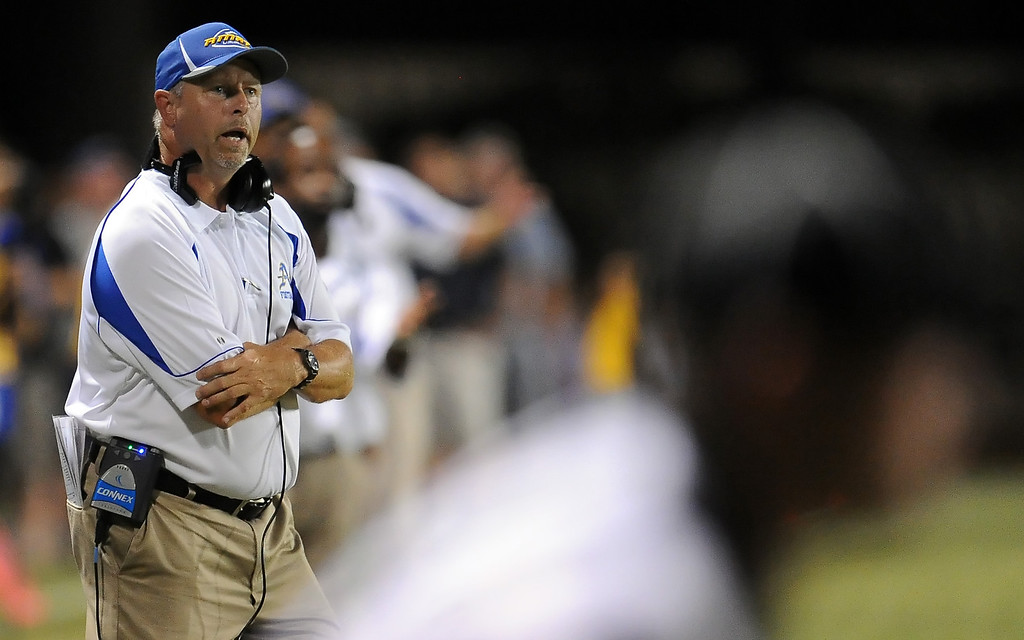 . Bishop Amat head coach Steve Hagerty against Santa Margarita in the first half of a prep football game at Bishop Amat High School on Friday, Aug. 30, 2013 in La Puente, Calif.   (Keith Birmingham/Pasadena Star-News)