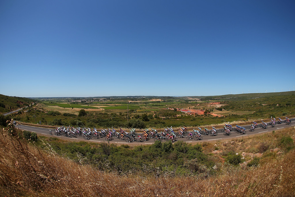 . ALBI, FRANCE - JULY 05:  The peloton passes through countryside during stage seven of the 2013 Tour de France, a 205.5KM road stage from Montpellier to Albi, on July 5, 2013 in Montpellier, France.  (Photo by Bryn Lennon/Getty Images)