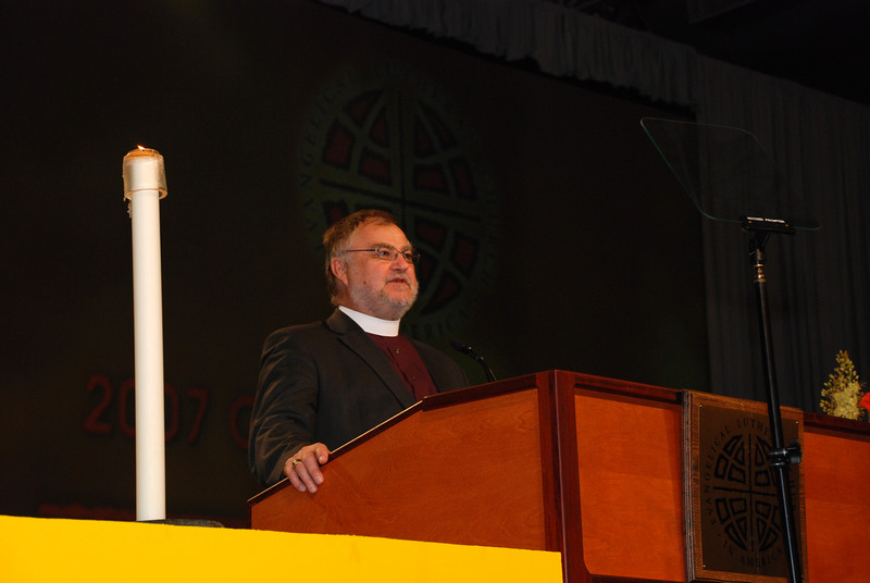 Bishop Raymond Schultz, Evangelical Lutheran Church in Canada addressing the Plenary session 5.