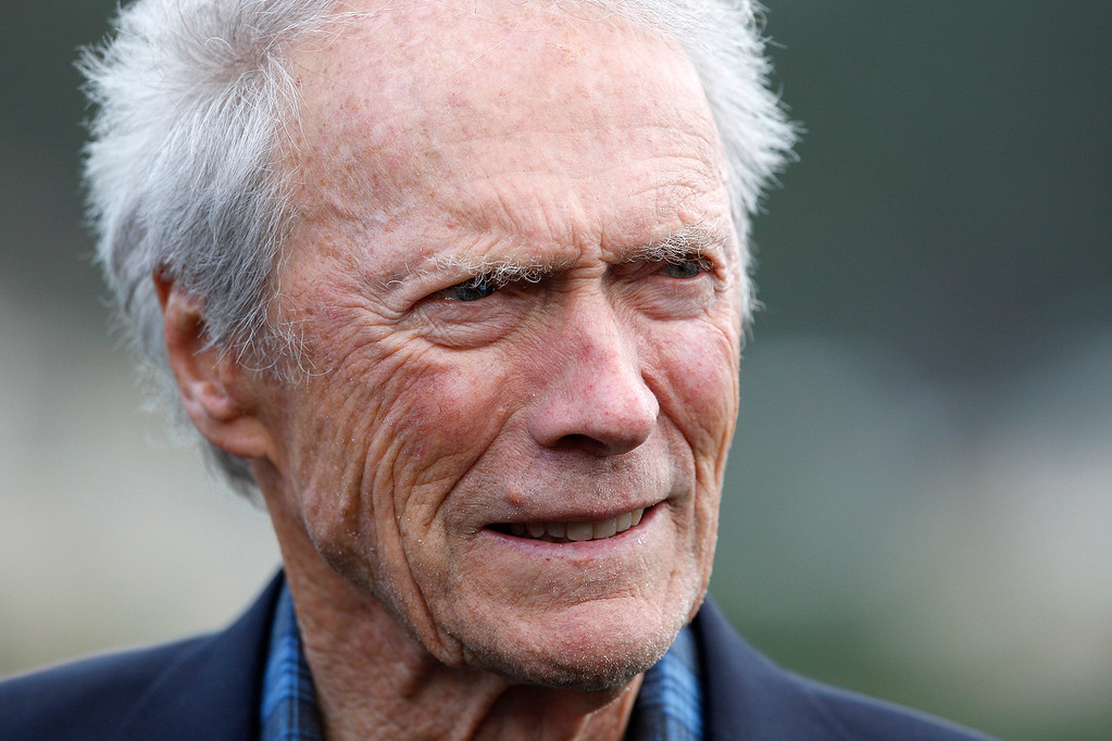 . Clint Eastwood at the Pebble Beach Golf Links during the final round of the AT&T Pebble Beach Pro-Am on Sunday, Feb. 11, 2018.  (Vern Fisher - Monterey Herald)