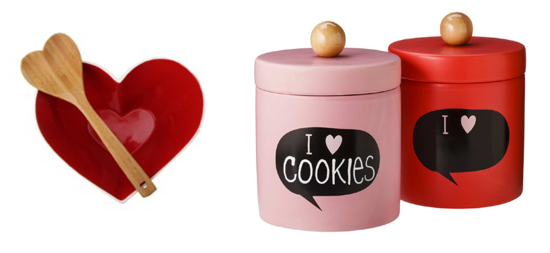. At left, red stoneware heart bowl with bamboo ladle ($47) at select Bibelot stores and bibelotshops.com. At right, Valentine�s chalkboard cookie jar set ($20) at Target stores and target.com.