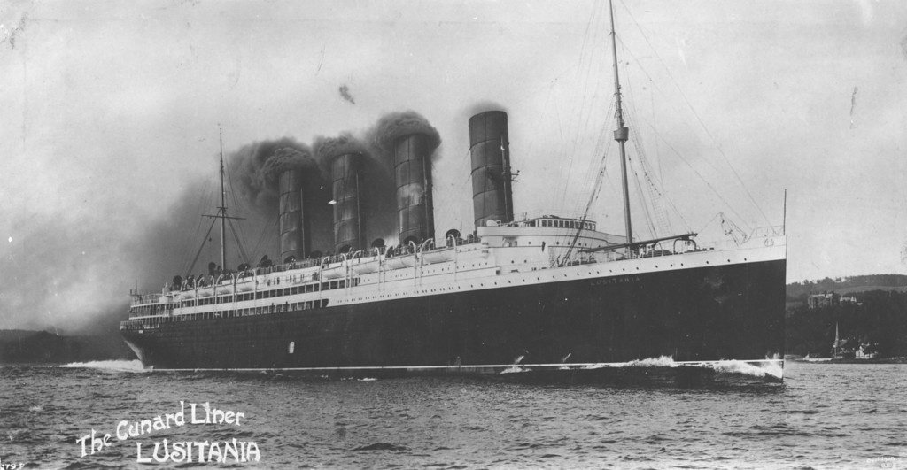 . circa 1914:  The Cunard Liner \'The Lusitania\'. Torpedoed by a German submarine off the coast of Ireland \'The Lusitania\' sank with a large loss of life. Amongst the casualties were many American citizens. A factor that proved significant in triggering the involvement of the United States in World War I.  (Photo by Hulton Archive/Getty Images)
