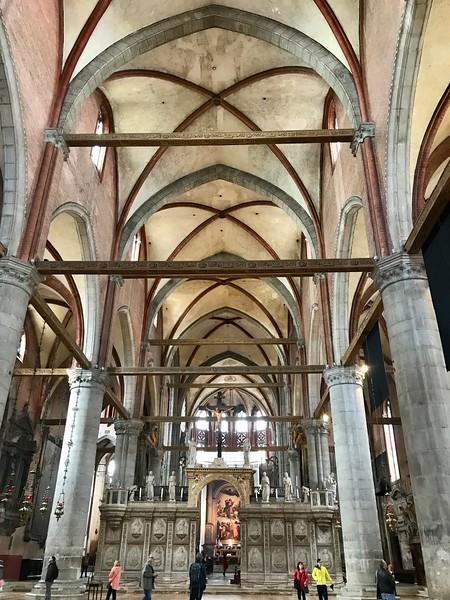 Interior of the 15th century Santa Maria Gloriosa dei Frari Church