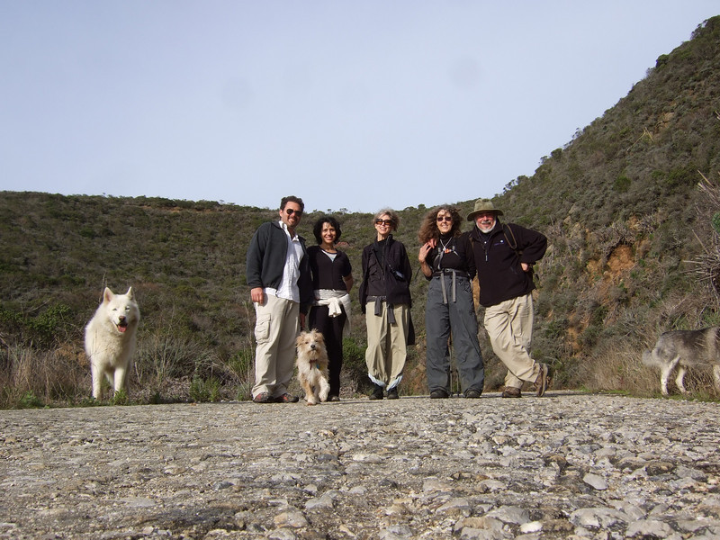 Joel McEwen, left, girlfriend, Jean Marie Offenbacher, Eva Strauss-Rosen and Stephen Somerstein with dog in front. Hike with Joel McEwen, girl friend, Jean Marie Offenbacher and my wife Eva Strauss-Rosen. Moss Beach Trails. Dec 27, 2010.
