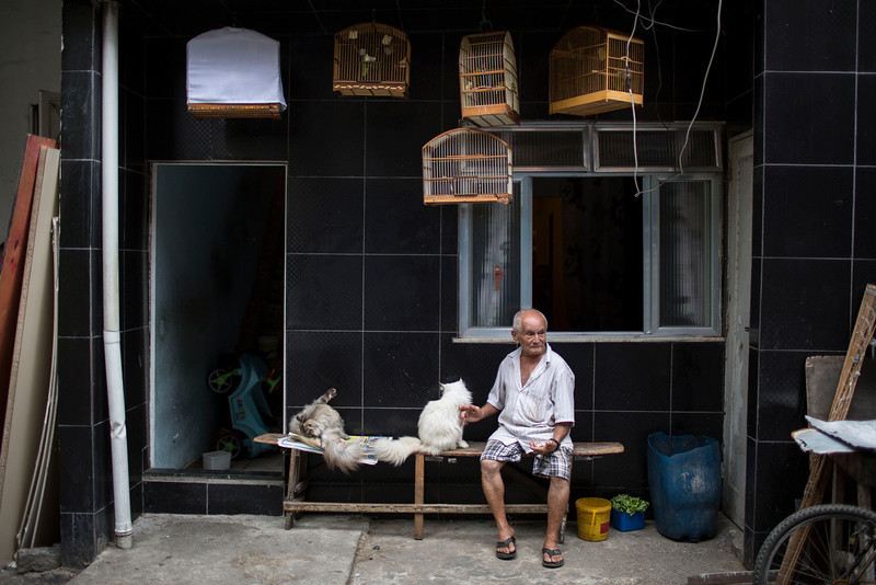 """. A man pets a cat while watching military police officers patrol during an operation in the Mare slum complex, ahead of its \""""pacification,\"""" in Rio de Janeiro, Brazil, Tuesday, March 25, 2014. (AP Photo/Felipe Dana)"""