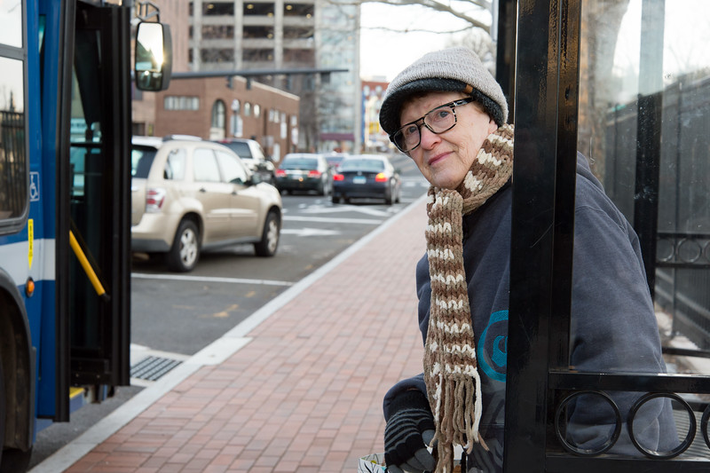 01/07/19  Wesley Bunnell | Staff  Rachel Daigle of New Britain is bundled up against the cold weather as she pokes her head out from behind the protective bus shelter to look for the 502 bus on Monday afternoon.