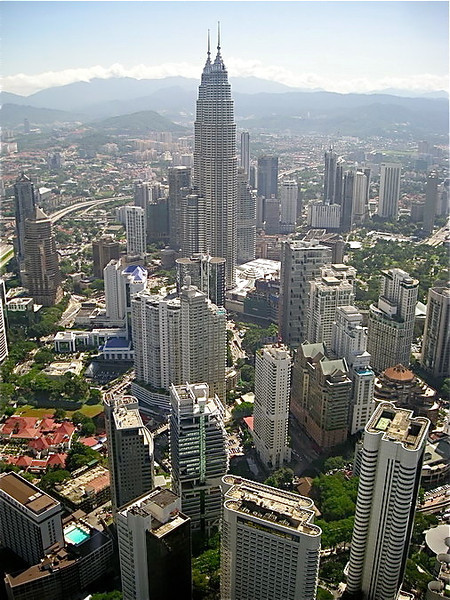 view of the Petronas Towers from the Kuala Lumpur Tower