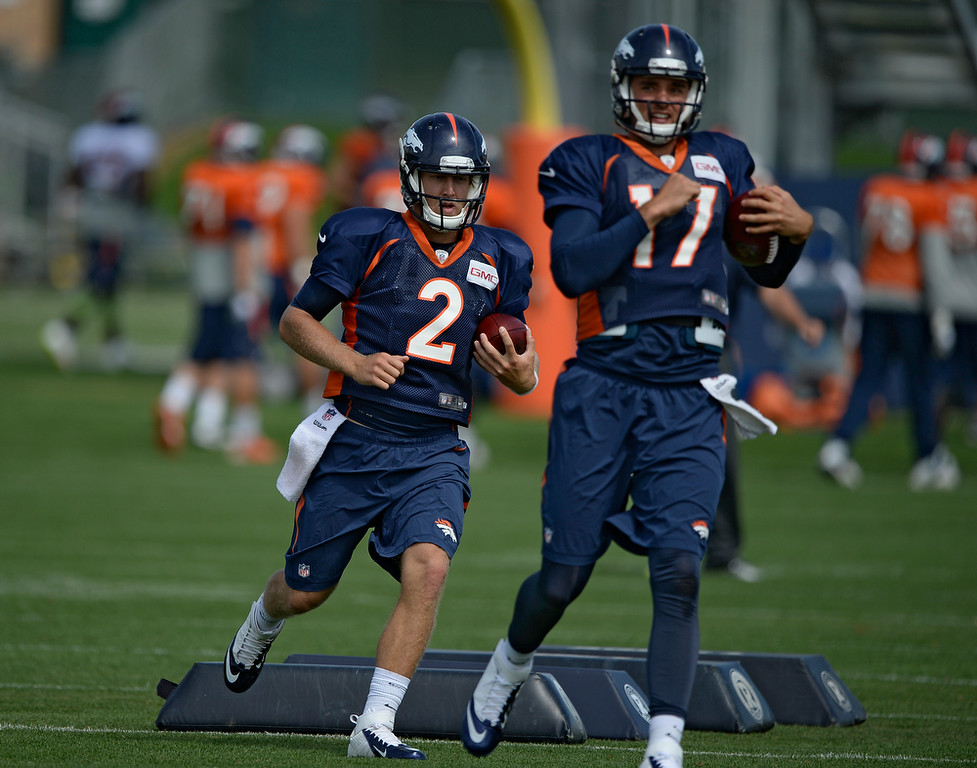 . Denver Broncos quarterback Zac Dysert (2) runs through drills during practice August 26, 2014 at Dove Valley.(Photo by John Leyba/The Denver Post)