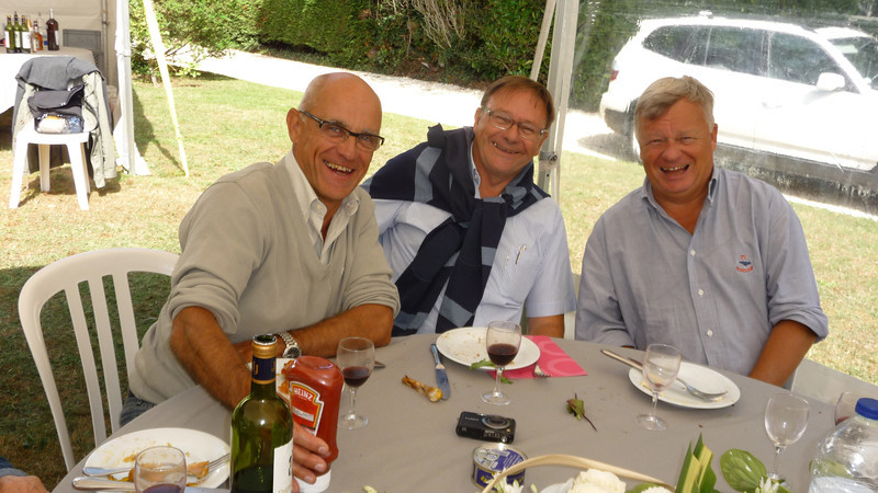 Regis' Father on the right, with Delphine's Father in the middle.  Christian was always laughing!