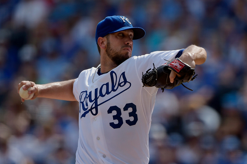 . Kansas City Royals starting pitcher James Shields (33) throws against the Detroit Tigers during the first inning of a baseball game Saturday, Sept. 20, 2014, in Kansas City, Mo. (AP Photo/Reed Hoffmann)