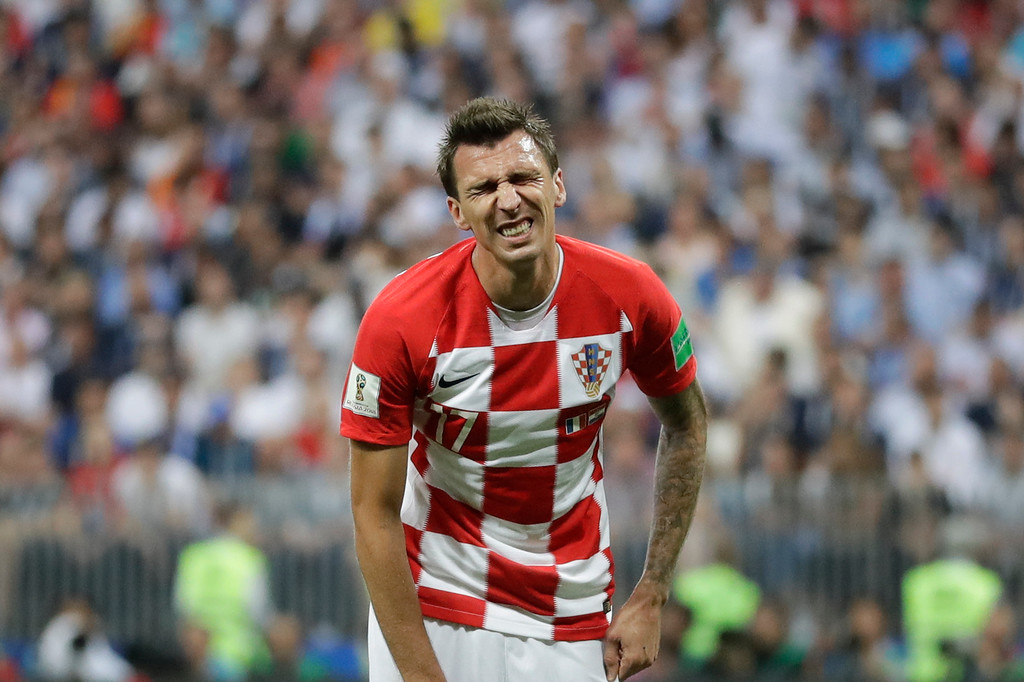 . Croatia\'s Mario Mandzukic reacts during the final match between France and Croatia at the 2018 soccer World Cup in the Luzhniki Stadium in Moscow, Russia, Sunday, July 15, 2018. (AP Photo/Matthias Schrader)