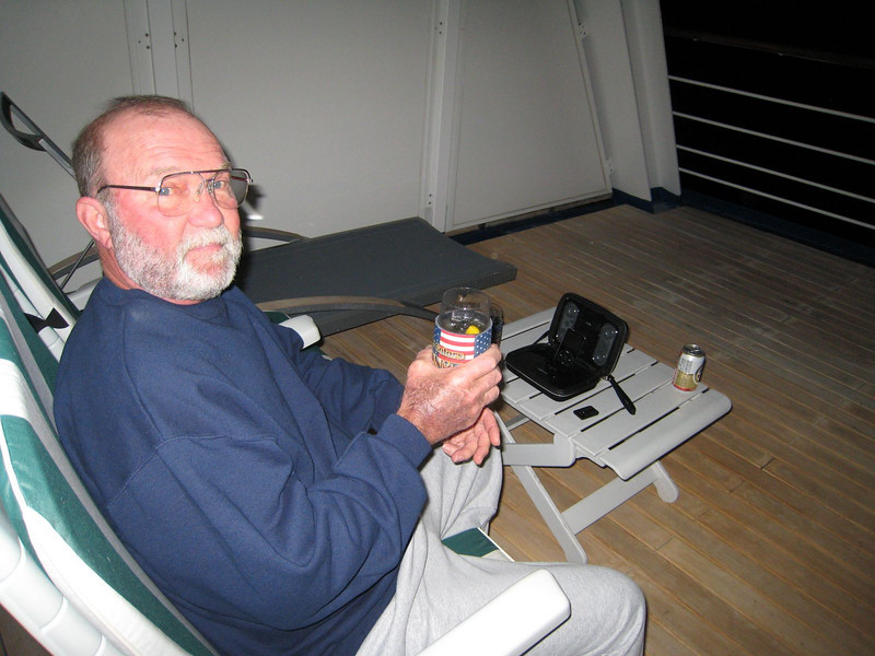 Enjoying a beer on the balcony with George Jones on the iPod!