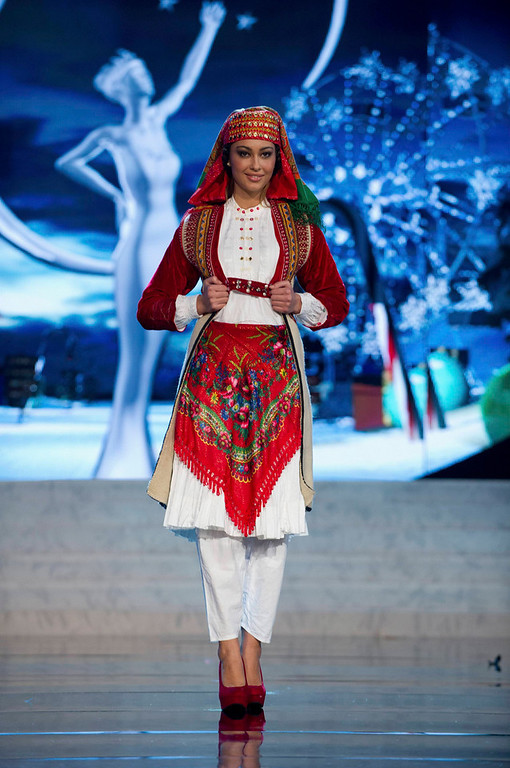 . Miss Albania Adrola Dushi performs onstage at the 2012 Miss Universe National Costume Show at PH Live in Las Vegas, Nevada December 14, 2012. The 89 Miss Universe contestants will compete for the Diamond Nexus Crown on December 19, 2012. REUTERS/Darren Decker/Miss Universe Organization L.P./Handout
