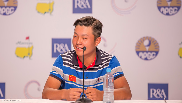 Lin Yuxin from China immediately after scoring a course record 5 under 64 on the 2nd day of competition  in the Asia-Pacific Amateur Championship tournament 2017 held at Royal Wellington Golf Club, in Heretaunga, Upper Hutt, New Zealand from 26 - 29 October 2017. Copyright John Mathews 2017.   www.megasportmedia.co.nz
