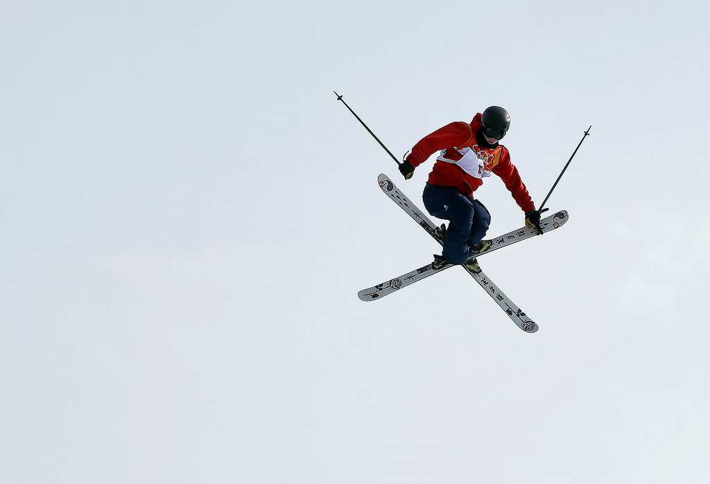. James Woods, of Britain, jumps during the men\'s slopestyle final at Phoenix Snow Park at the 2018 Winter Olympics in Pyeongchang, South Korea, Sunday, Feb. 18, 2018. (AP Photo/Kin Cheung)