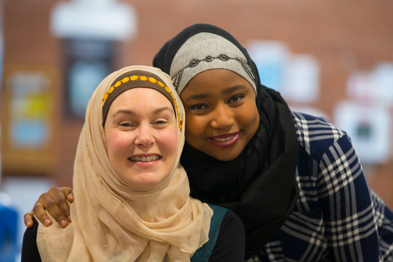 01/02/2017. FREE TO USE IMAGE.  World Hijab Day 2017 at Waterford Institute of Technology. Picture at Waterford Institute of Technology (WIT) who hosted an event for World Hijab Day 2017 at WIT's main campus, Cork Road, Waterford City. Pictured are Dr. Una Kealy, Lecturer at WIT trying on a Hijab and Khadijat Umar Waterford. Picture: Patrick Browne