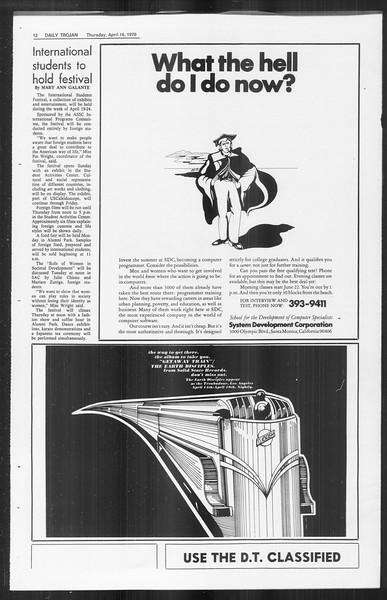 Daily Trojan, Vol. 61, No. 107, April 16, 1970