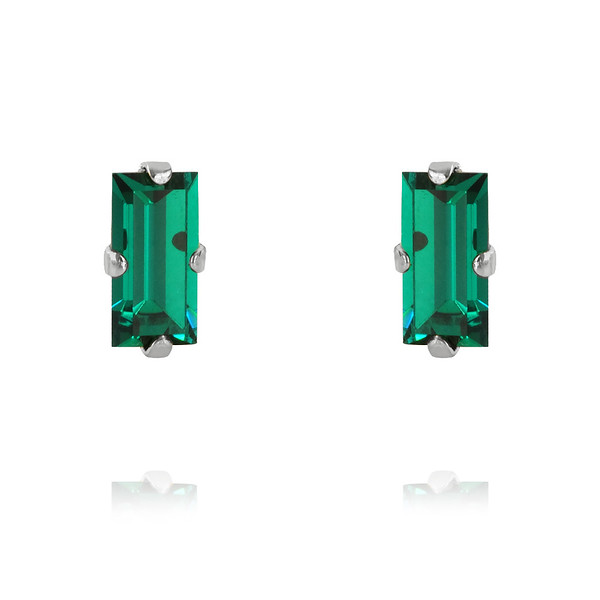 Baguette Earrings / Emerald Rhodium
