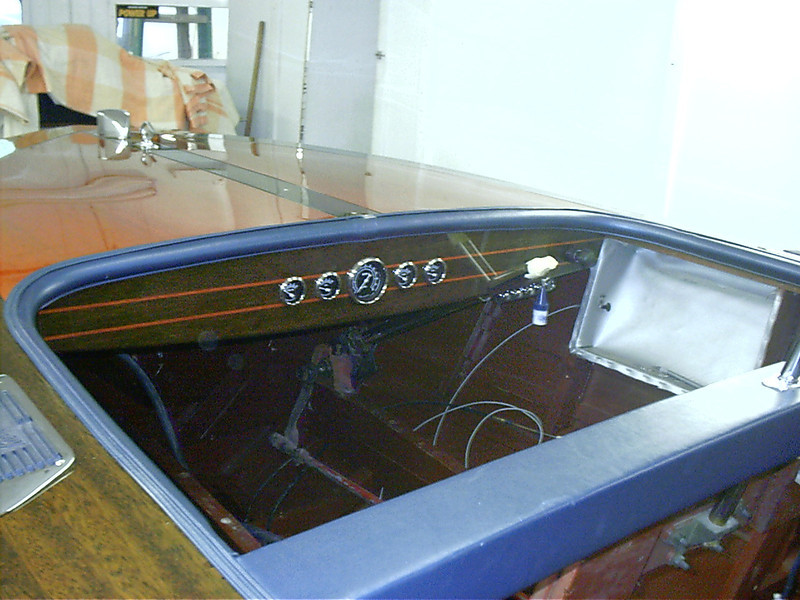 Port view of instrument panel with new instruments installed. Also on the driver side a hidden panel with light, blower,and bilge pump switches.