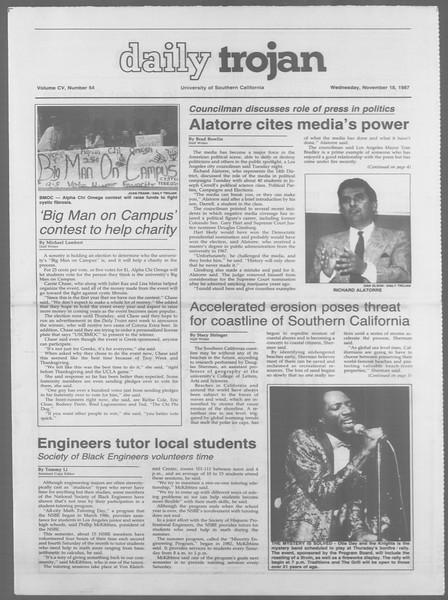 Daily Trojan, Vol. 105, No. 54, November 18, 1987