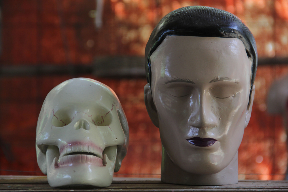 . Human anatomy mannequins are displayed on April 23, 2014 in Depok, West Java, Indonesia. The mannequins are made from fiberglass and will be used in schools, hospitals and laboratories.  (Photo by Nurcholis Anhari Lubis/Getty Images)