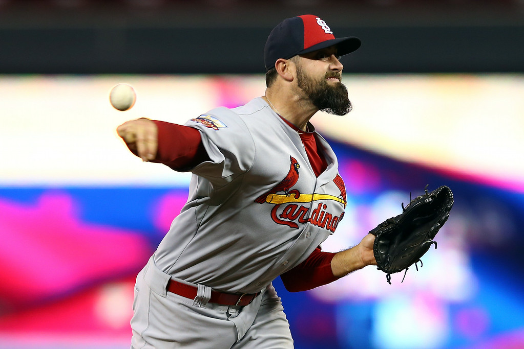 . National League All-Star Pat Neshek #41 of the St. Louis Cardinals pitches against the American League All-Stars during the 85th MLB All-Star Game at Target Field on July 15, 2014 in Minneapolis, Minnesota.  (Photo by Elsa/Getty Images)