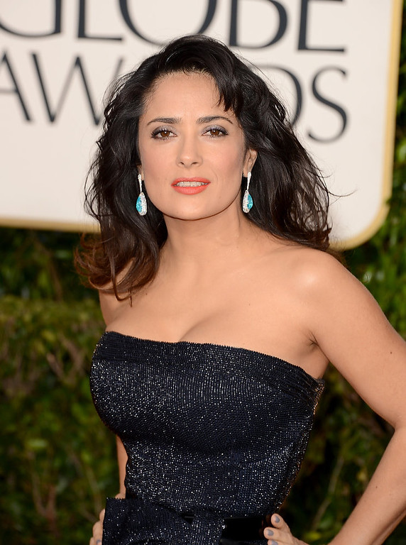 . Actress Salma Hayek arrives at the 70th Annual Golden Globe Awards held at The Beverly Hilton Hotel on January 13, 2013 in Beverly Hills, California.  (Photo by Jason Merritt/Getty Images)