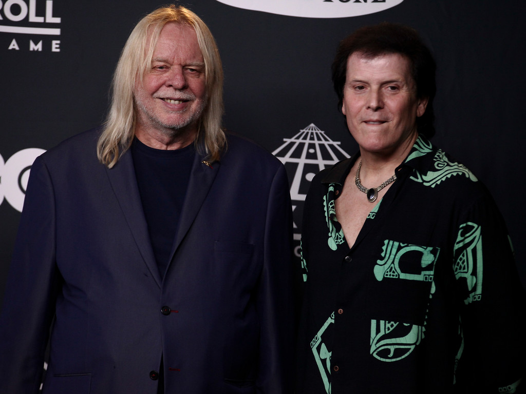. Rick Wakeman, left, and Trevor Rabin, right, of the band Yes pose in the 2017 Rock and Roll Hall of Fame induction ceremony press room at the Barclays Center on Friday, April 7, 2017, in New York. (Photo by Andy Kropa/Invision/AP)