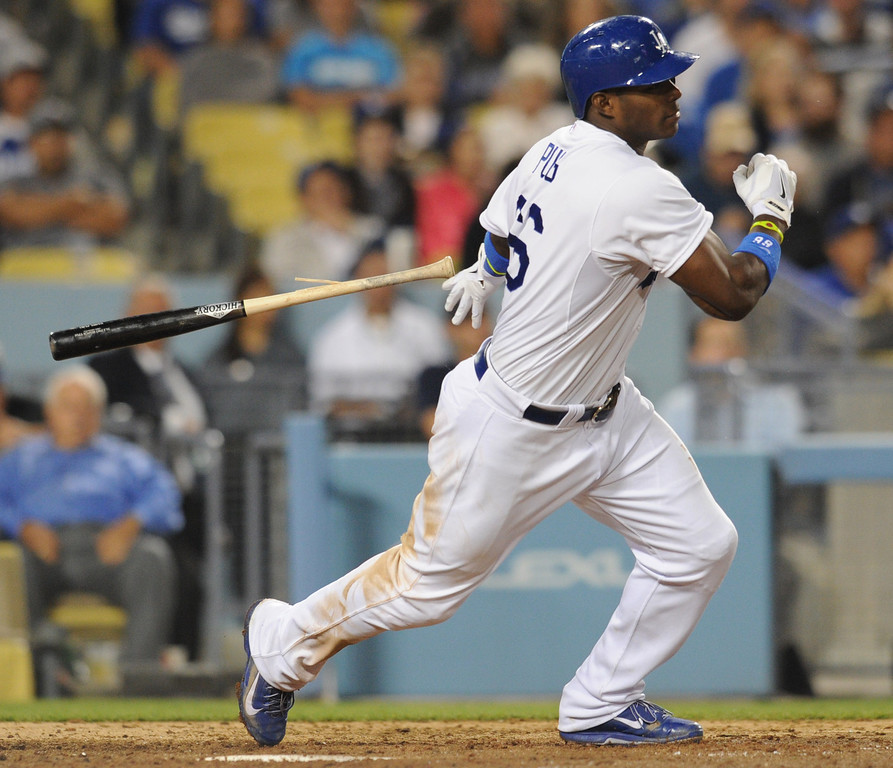 . Yasiel Puig splintered his bat in the 8th inning. The Dodgers defeated the New York Mets  4-2 in a game at Dodger Stadium in Los Angeles, CA. 8/13/2013(John McCoy/LA Daily News)