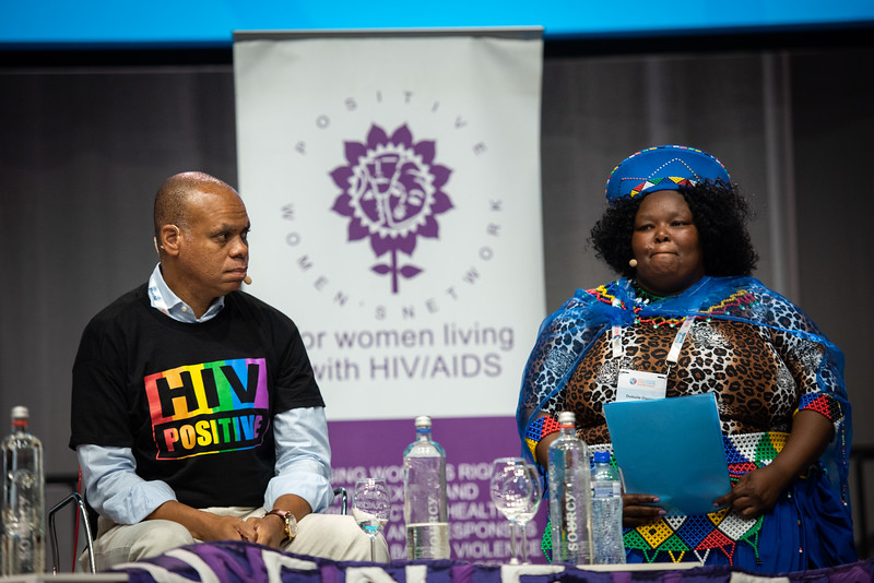 22nd International AIDS Conference (AIDS 2018) Amsterdam, Netherlands.   Copyright: Steve Forrest/Workers' Photos/ IAS  Photo shows: Special Session: The legacy of Prudence Mabele: Championing gender justice and health equity. From Left to Right: Patrick Gaspard, Open Society Foundations, United States; Prudence Mabele Prize winner, Duduzile (Dudu) Dlamini.