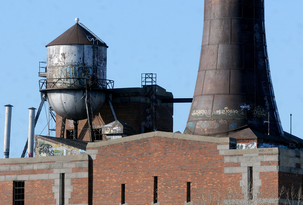 . A photograph of the top of the Island Station coal power plant at 380 Randolph Avenue in St. Paul on Sunday morning, March 16, 2014 before the demolition took place. The station\'s chimney stack,  280 feet high was also destroyed also with the explosives.  (Pioneer Press: Sherri LaRose-Chiglo)