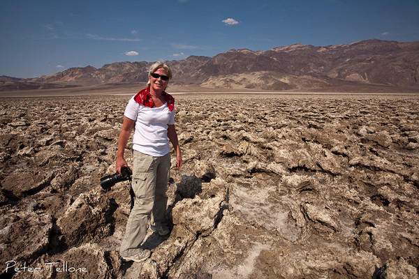 Photographer Lori Carey at Devil's Golf Course in Death Valley during the record-breaking heatwave on June 30, 2013