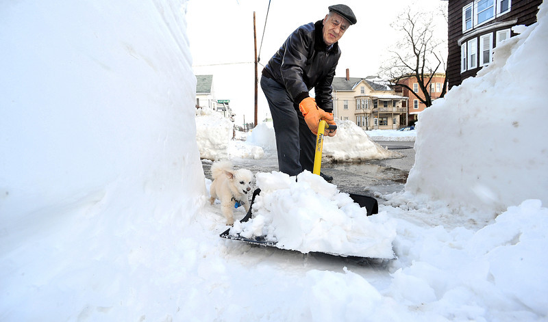 "Since 1963, Leopold Soucy has been shoveling out the front of his apartment on Walnut Street in Lewiston.  Ten of them with Leopold, his chihuahua poodle mix.  He was not happy with having to reshovel  after the city sidewalk cleaner came by and ""made a mess!"""