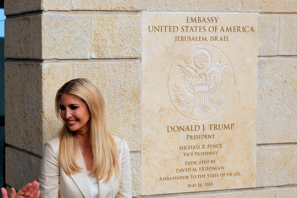 . U.S. President Donald Trump\'s daughter Ivanka Trump, attends the opening ceremony of the new U.S. embassy in Jerusalem, Monday, May 14, 2018. Amid deadly clashes along the Israeli-Palestinian border, President Donald Trump\'s top aides and supporters on Monday celebrated the opening of the new U.S. Embassy in Jerusalem as a campaign promised fulfilled. (AP Photo/Sebastian Scheiner)