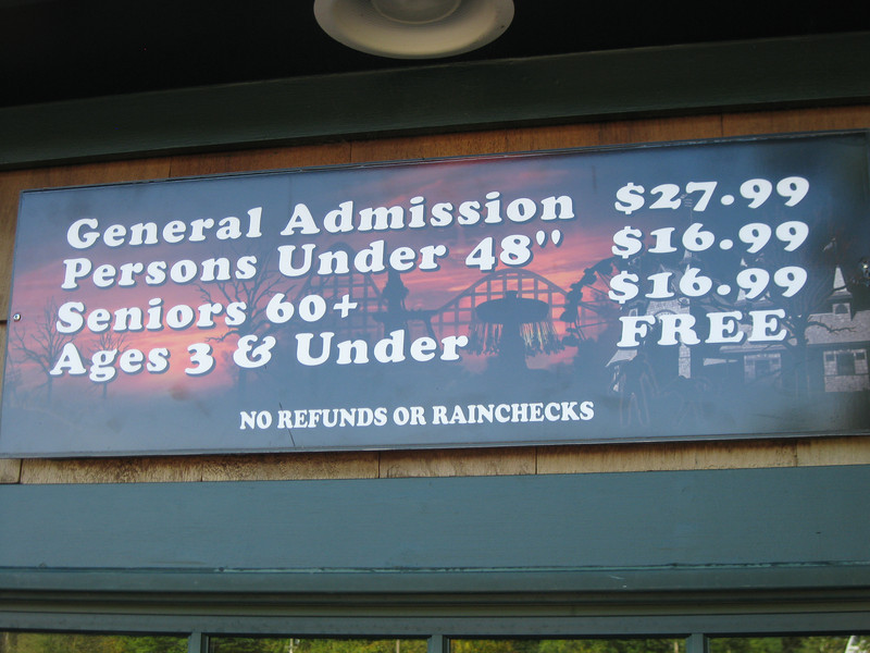 2011 admission prices.