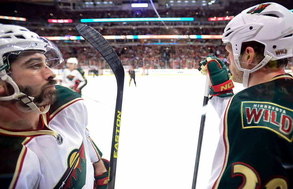 . Minnesota right wing Cal Clutterbuck, left, and defenseman Ryan Suter wait for the game (and their season) to end late in the third. (Pioneer Press: Ben Garvin)