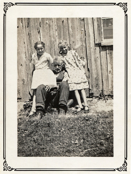 """Michael, Ruby and Olive Doss. On the back is written: """"Olive & Ruby & Papa"""""""