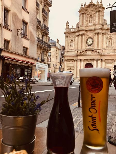 Stopping for a break in the 4th arrondissement  (Le Marais) near the 17th century Saint-Paul-Saint-Louis Church