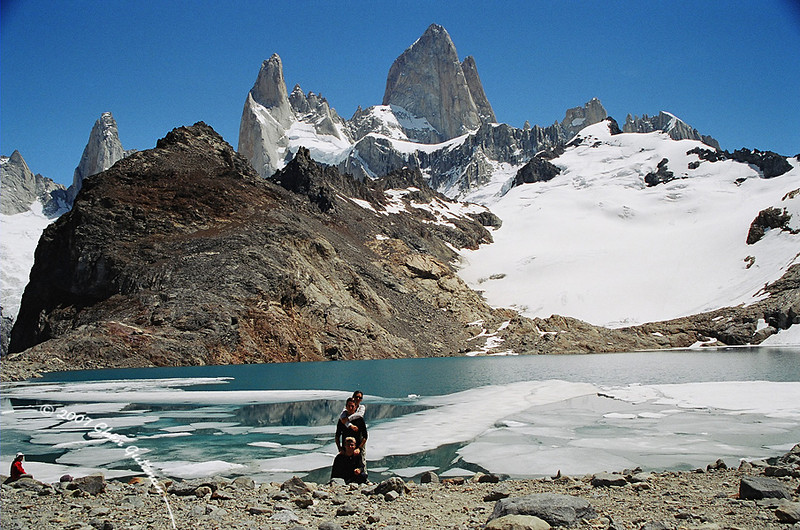 December 2005: Fitz Roy and it's accompanying peaks in the Los Glaciars National Park, Argentina. From back to front: Maya, Barak and Me.