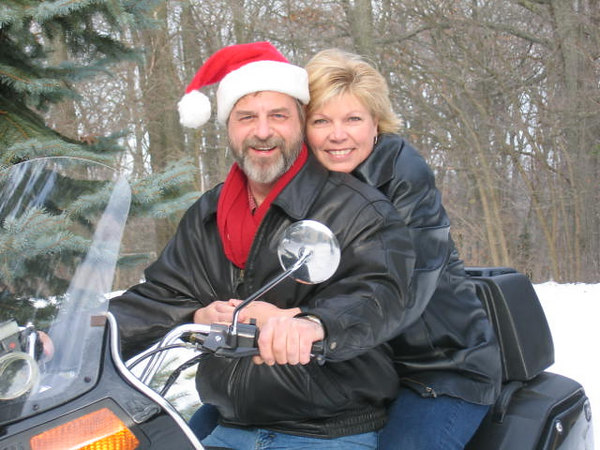 Mom & Dad - Motorcycle Christmas Card Photos