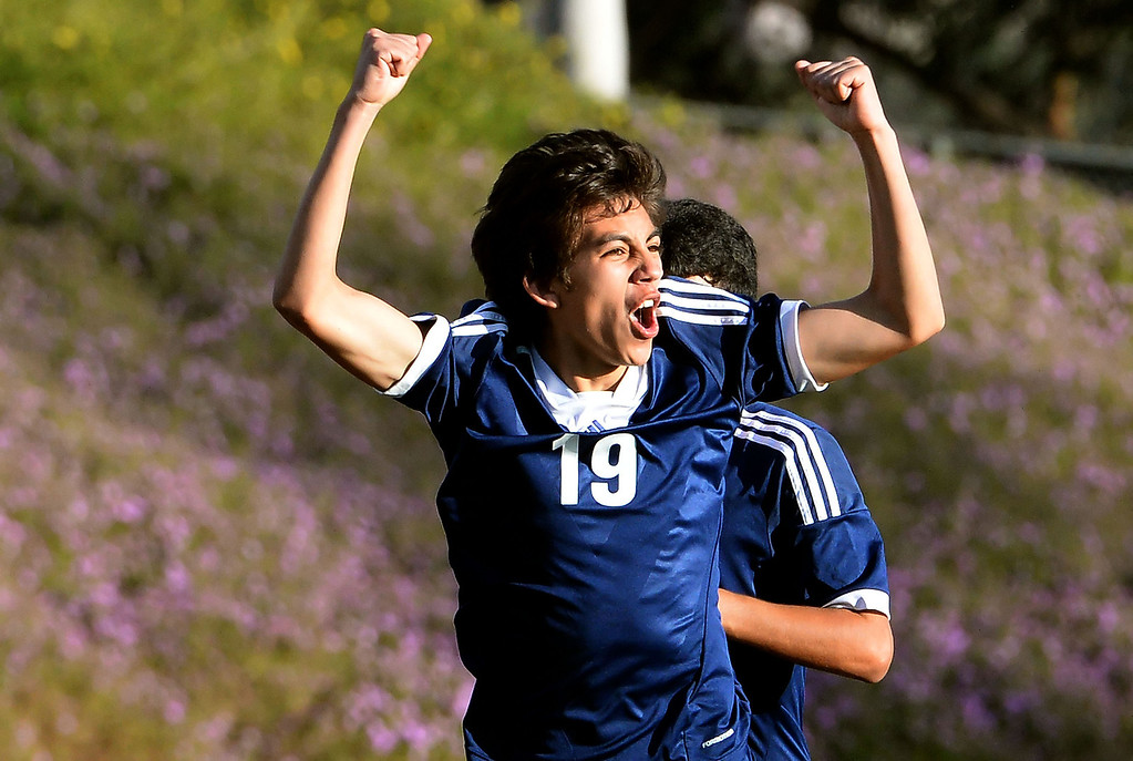 . Baldwin Park\'s Cesar Medina reacts after scoring the game winning goal in the second half of a CIF-SS quarterfinal prep playoff soccer match against Diamond Bar at Diamond Bar High School in Diamond Bar, Calif., on Thursday, Feb.27, 2014. Baldwin Park won 2-1. (Keith Birmingham Pasadena Star-News)