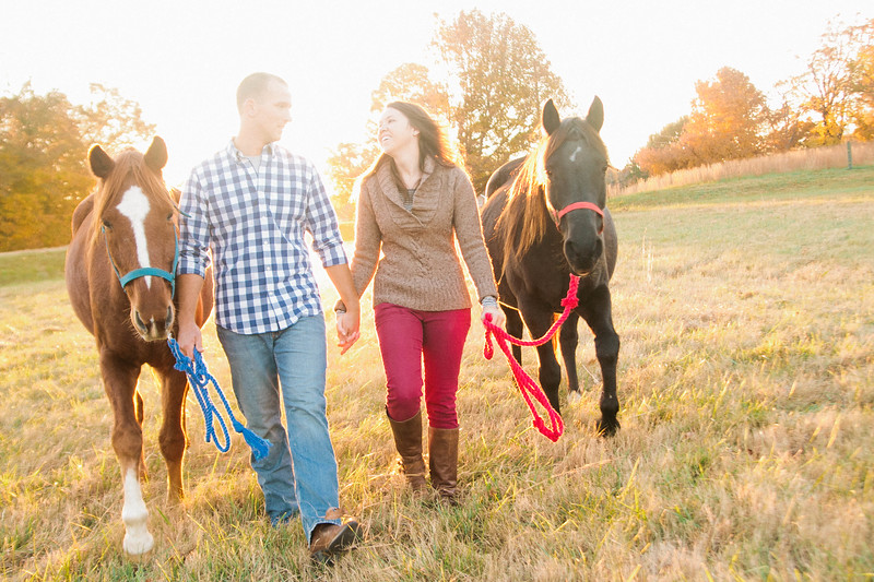 engagement session involving horses