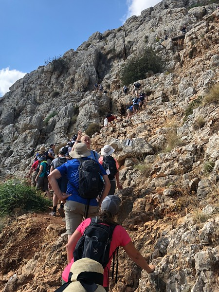 Our team nearing the summit, following closely in the steps of the person in front of us (just like disciples)..jpeg