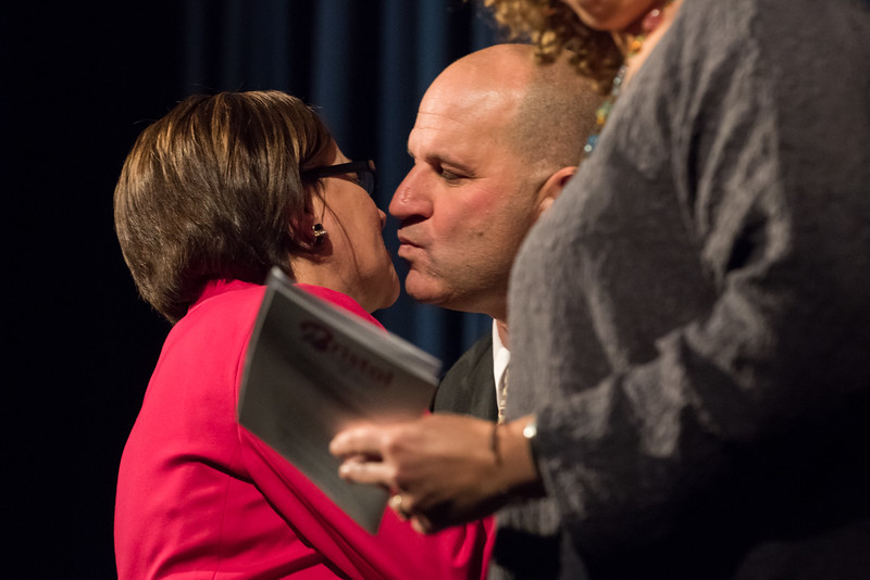 11/13/17  Wesley Bunnell | Staff  The City of Bristol held their 2017 Inaugural on Monday evening at Bristol Eastern High School.  Mayor Ellen Zoppo-Sassu hugs her husband Peter Sassu.