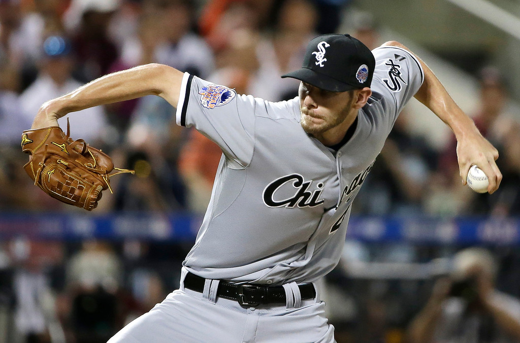 . American Leagueís Chris Sale, of the Chicago White Sox, pitches during the second inning of the MLB All-Star baseball game, on Tuesday, July 16, 2013, in New York. (AP Photo/Matt Slocum)