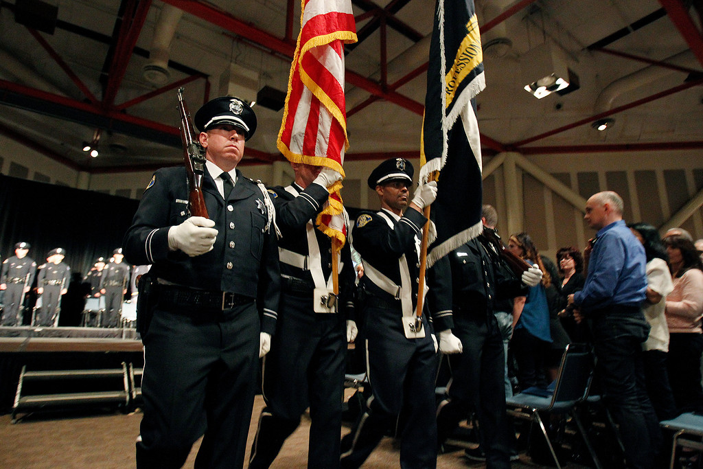 . Presentation of Colors and Anthem at the San Jose Police Academy graduation in San Jose, Calif. on Friday, March 15, 2013.   (LiPo Ching/Staff)
